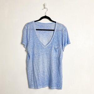 J Crew blue linen v-neck breast pocket tee
